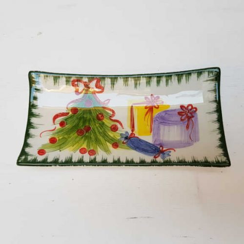Il Nostro Natale Piattino Rettangolare decoro albero con pacchetti regalo