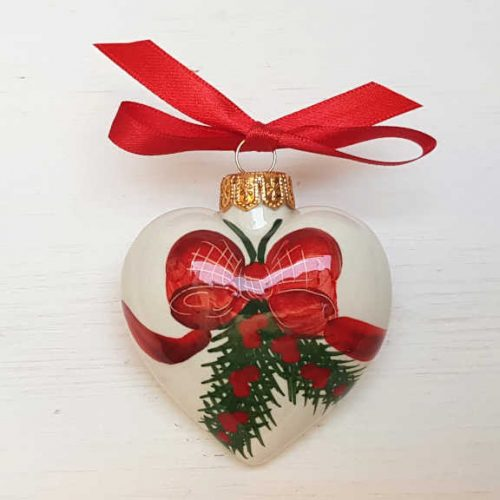 Il Nostro Natale Ornamento Cuore decoro Fiocco e Pungitopo