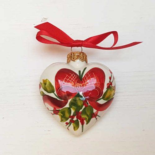 Il Nostro Natale Ornamento Cuore decoro Fiocco e Vischio