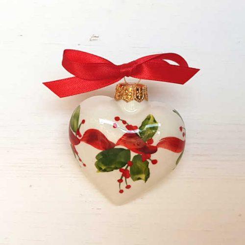 Il Nostro Natale Ornamento Cuore decoro nastro e Vischio