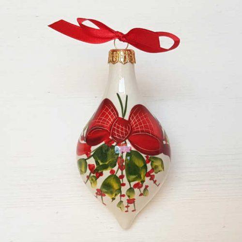 Il Nostro Natale Ornamento Albero Goccia decoro Fiocco e vischio