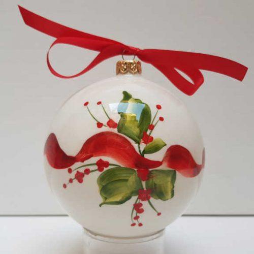 Il Nostro Natale Ornamento Albero Palla grande decoro nastro e vischio