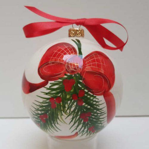 Il Nostro Natale Ornamento Albero Palla grande decoro fiocco e pungitopo