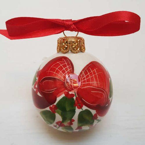 Il Nostro Natale ornamento pallina decoro fiocco e vischio