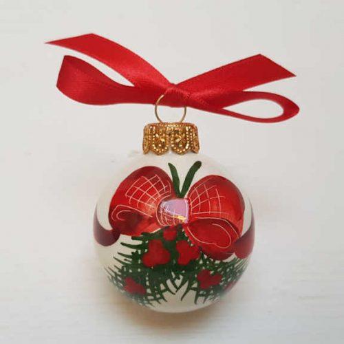 Il Nostro Natale ornamento pallina decoro fiocco e pungitopo