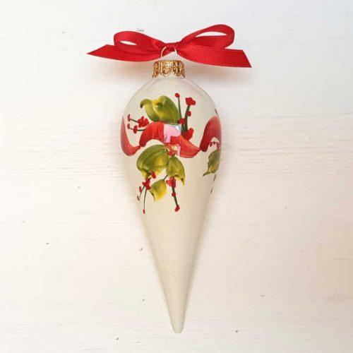 Il Nostro Natale Ornamento Punta lunga decoro nastro e vischio