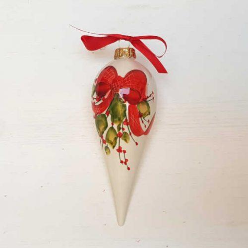 Il Nostro Natale Ornamento Punta lunga decoro Fiocco e Vischio