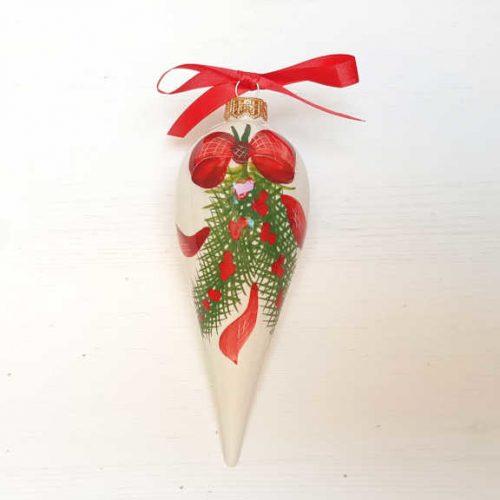 Il Nostro Natale Ornamento Punta lunga decoro Fiocco e Pungitopo