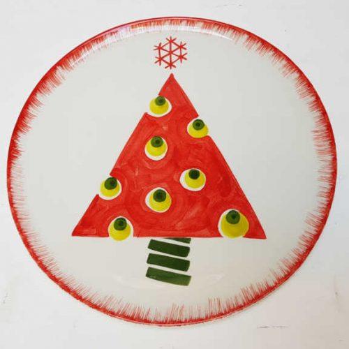 Modigliani il nostro Natale piatto tondo decoro albero rosso