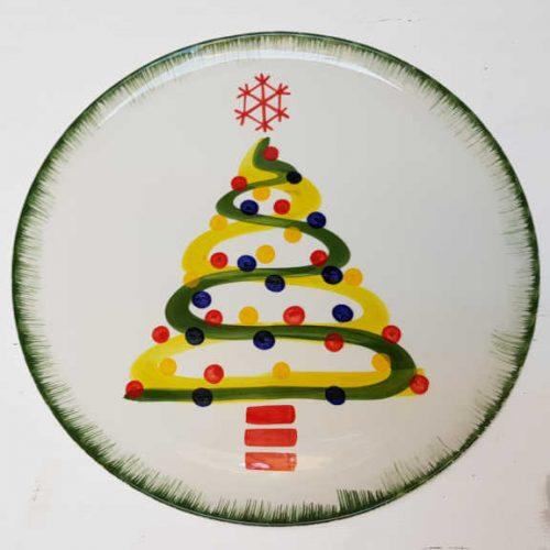 Modigliani il nostro Natale piatto tondo decoro albero con nastri