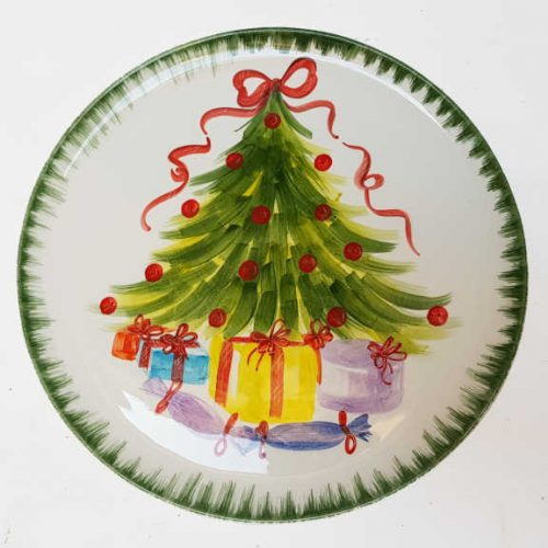 Modigliani il nostro Natale piatto tondo decoro albero con pacchi