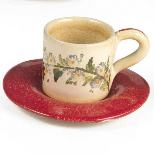 Terra Fiorita Tazza da caffè con piatto rossa
