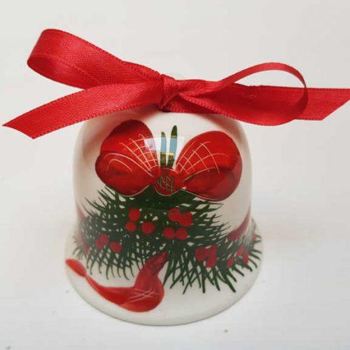 Il Nostro Natale Ornamento Campanella decoro Fiocco e Pungitopo