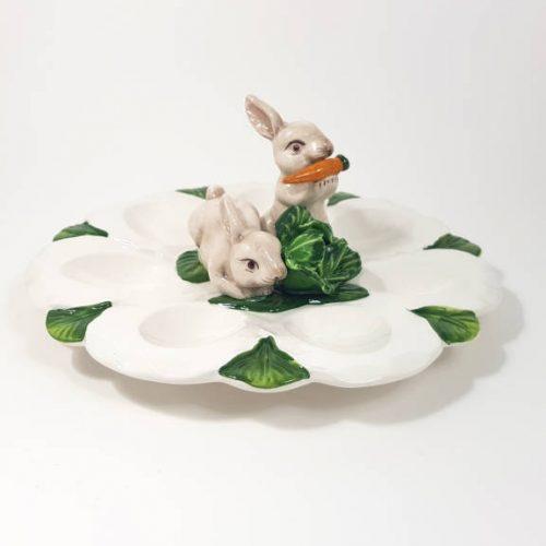 Pasqua piatto uova conigli tondo