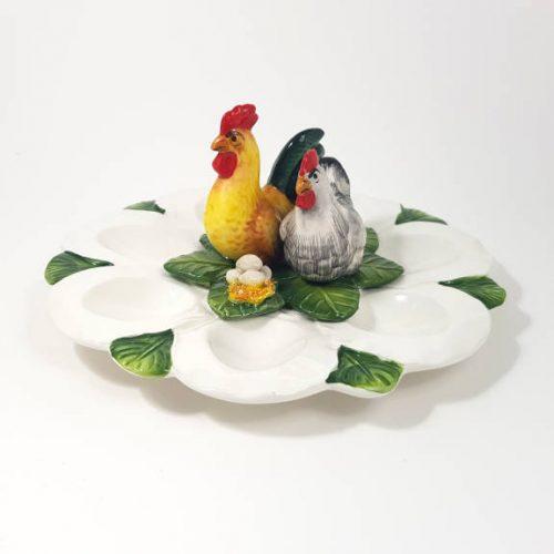 Pasqua piatto uova gallo gallina tondo