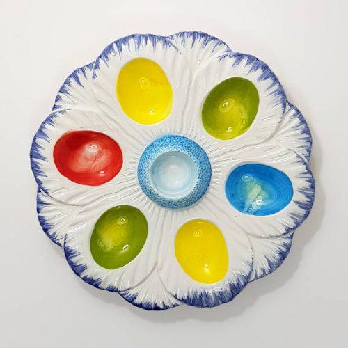Modigliani Pasqua piatto uova fiore multicolore blu