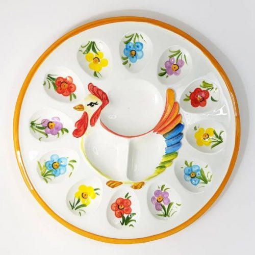 Modigliani Pasqua piatto gallina fiori assortiti arancio