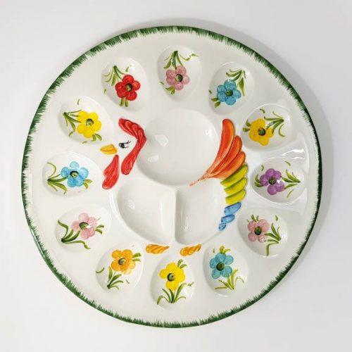 Modigliani Pasqua piatto gallina fiori assortiti verde
